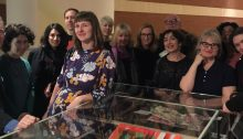 Photograph taken at Alice at the British Library 04/03/16 Photographer Marcella Riordan. Robert Seatter, Sasha Dugdale, Mona Arshi, Chris McCabe, Clare Pollard, Helen Mort, Abegail Morley, Natasha Little, Ian Duhig, Emer Gillespie, Helen Ivory, Amali Rodrigo, Catherine Smith, Hollie McNish.