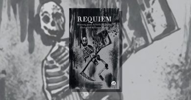 Requiem book cover featuring an illustration of a skeleton