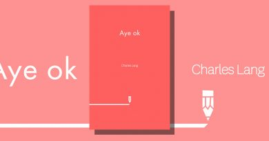 Aye Ok book cover with white text on a red background