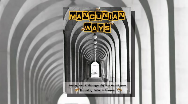Mancunian Ways book cover featuring a black and white corridor of arches