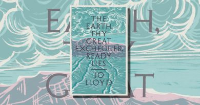 Jo Lloyd short story collection book cover featuring lino cut waves and clouds in green