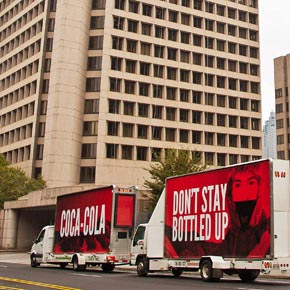 All Out's vans outside Coca-Cola's HQ