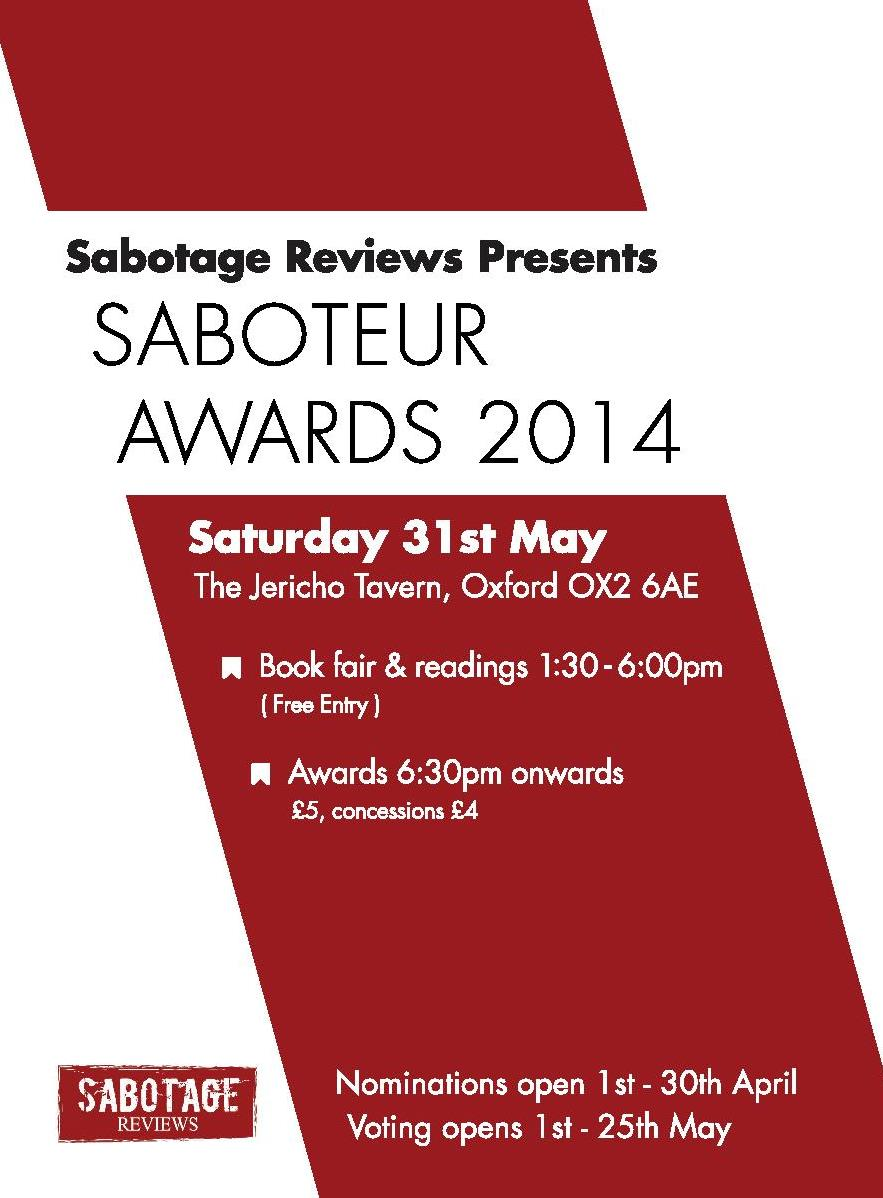 Saboteur Awards 2014 flyer