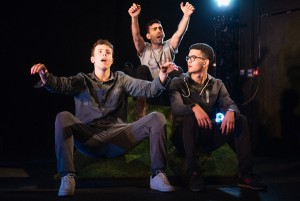 L-R Sam Cole (TOMMY) Waleed Akhtar (ZIA) Laurence Walker (LUKE) in BACK DOWN (2)