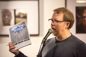 Editor Robert Harper at the Bare Fiction Magazine issue 4 launch in Birmingham. Photo credit: Mike Ashton