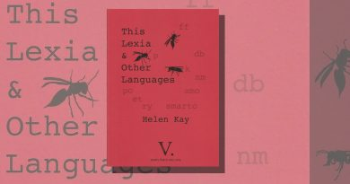 This Lexia and Other Languages red book cover with type and flies