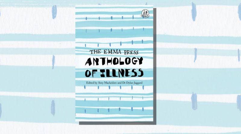 Anthology of Illness book cover featuring black ink on blue abstract stripes and marks