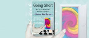 Nancy Stohlman Going Short book cover featuring a hand and a colourful swirling vortex outside an open door