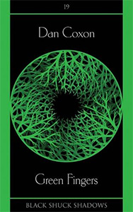 Green Fingers book cover with a circle of green branches against a black background
