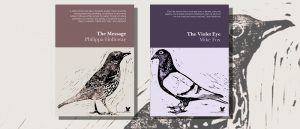 The Message and The Violet Eye chapbook covers featuring lino-cut birds